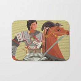 alexander the great mosaic riding a horse Bath Mat