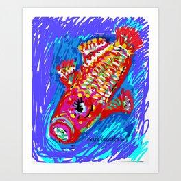 Koi  Fish Digital Drawing Art Print