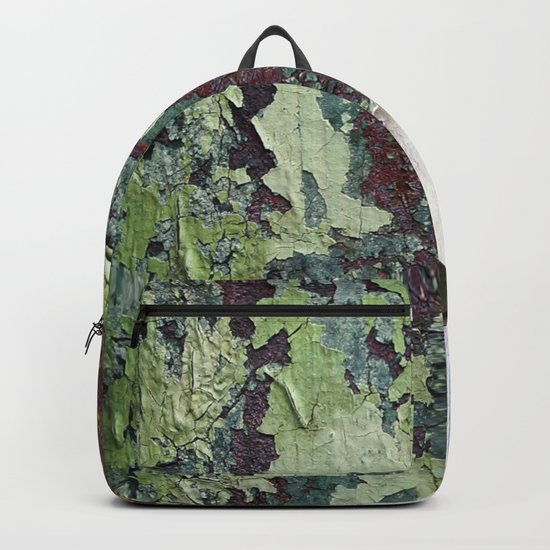 white green paint rust metal texture pattern Backpack