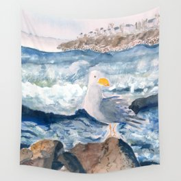 A Watercolor Seagull Named Fred (on Second Cliff in Scituate) Wall Tapestry