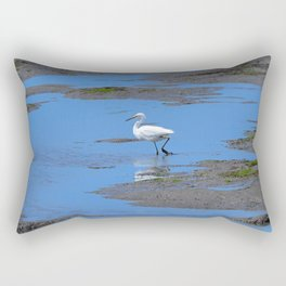 egret in brown and blue Rectangular Pillow