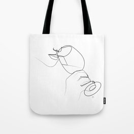 """ Kitchen Collection "" - Hand Holding Wine Glass/Drinking Wine Tote Bag"