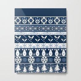 Retro . Christmas pattern . Blue background . Metal Print