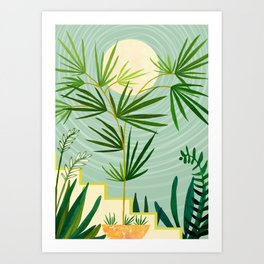 Summer Moon / Tropical Garden Illustration Art Print