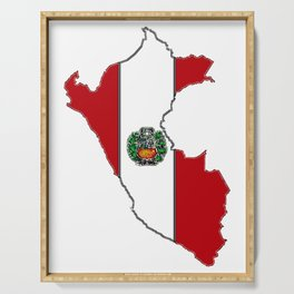 Peru map with Peruvian Flag Serving Tray