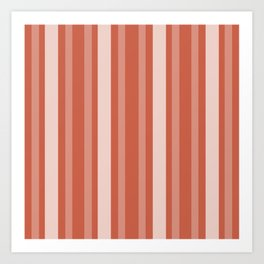 Dark Coral Victorian Lady Stripe Art Print