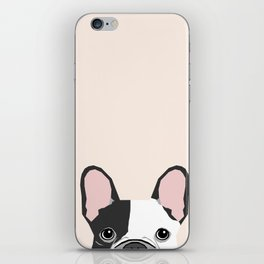 French Bulldog peeking cute black and white frenchie must have dog mom pet lover gifts iPhone Skin
