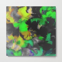 green black and yellow spiral painting Metal Print
