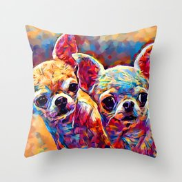 Chihuahua Bros Throw Pillow