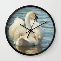 swan Wall Clocks featuring Swan by Svetlana Sewell