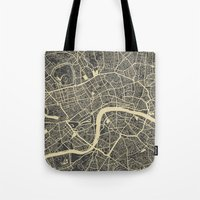 london Tote Bags featuring London by Map Map Maps