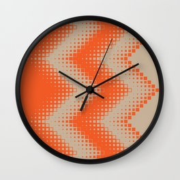 pattern growing squares chevron orange tan Wall Clock
