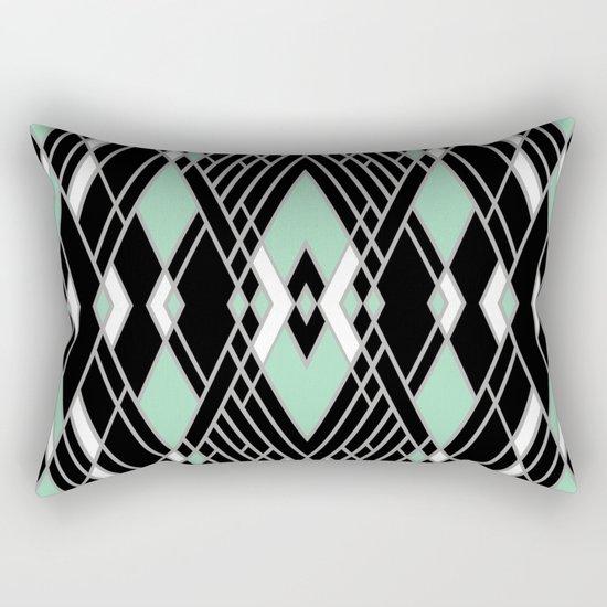 Art Deco Zoom Mint Rectangular Pillow
