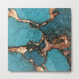 AQUA & GOLD GEMSTONE Metal Print