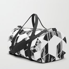 Elegant Black and White Geometric Design Duffle Bag