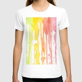 Rainbow Watercolor Texture Pattern Abstract T-shirt