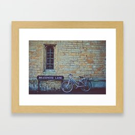 Bike, Wall and Window- Oxford, England Framed Art Print