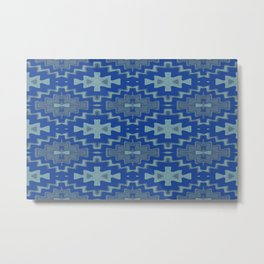 Blue Aztec Rhythmic Pattern Metal Print