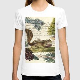 Rustic christmas winter evergreen pine tree woodland chipmunk T-shirt