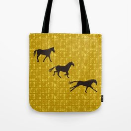 a horse running on Gold-leaf Screen Tote Bag