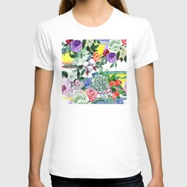 Breathtaking Colorful Watercolor Floral Print T-shirt