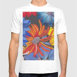 Florals on a black background T-shirt