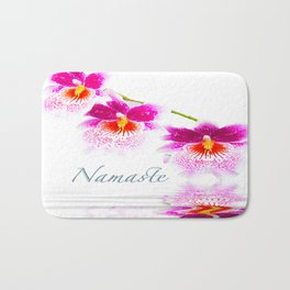 Namasta White And Pink Orchids Bath Mat