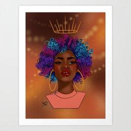 Crowned Curls Art Print