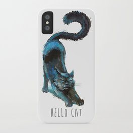 Black Blue Cat Stretching Drawing  iPhone Case
