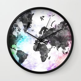 World Map Illustration Black Wall Clock