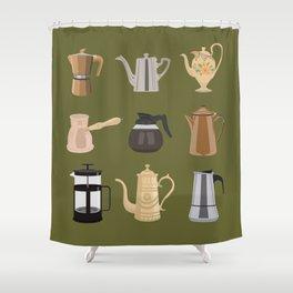 Coffee Pots Shower Curtain