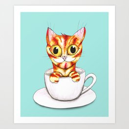 Striped coffee cat Art Print