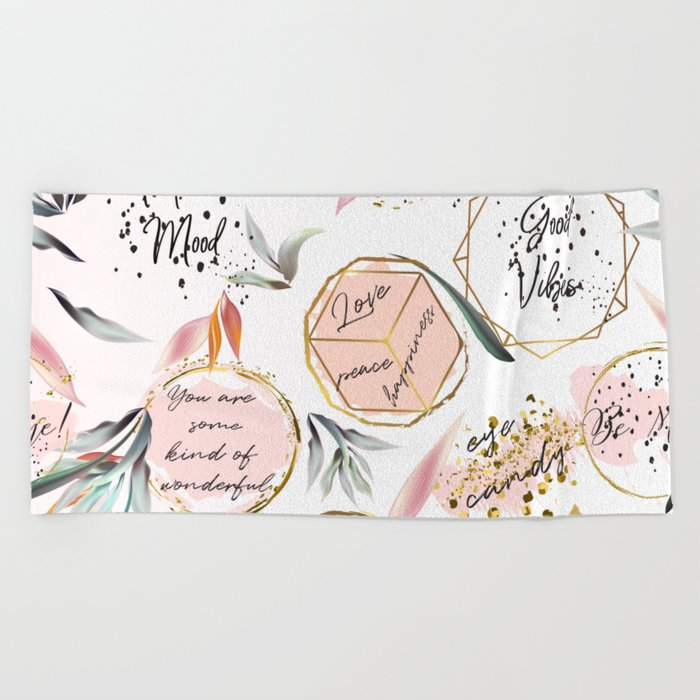 Tropical Mood Quotes And Palm Leaves Beach Towel By Fleurdesign Society6 It's the tropical leaves earrings. tropical mood quotes and palm leaves beach towel by fleurdesign
