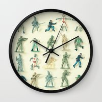 army Wall Clocks featuring Broken Army by Cassia Beck