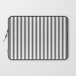 Black and White English Rose Trellis in Mattress Ticking Stripe Laptop Sleeve