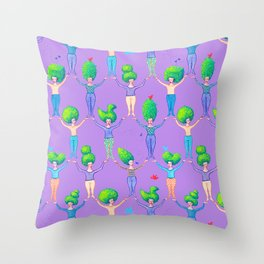 Topiary Ladies on Purple Throw Pillow