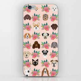 Dogs and cat breeds pet pattern cute faces corgi boston terrier husky airedale iPhone Skin