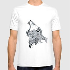 Growling Lion Mens Fitted Tee MEDIUM White