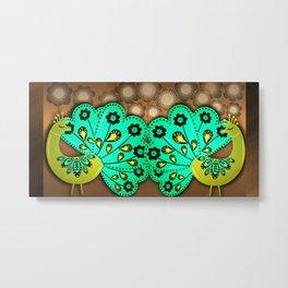 A Pair Of Copper Peacocks Metal Print