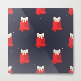 Red Christmas Bell Pattern Metal Print