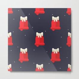 Red Christmas Bell Pattern Metal Print