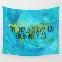 fangirl Wall Tapestries featuring The World Belongs to Those Who Read - Watercolour by bookwormboutique