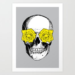 Skull and Roses | Skull and Flowers | Vintage Skull | Grey and Yellow | Art Print