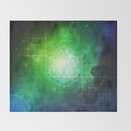 Abstract Deep Space Portal Blue-Green Throw Blanket