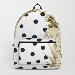 Gold Pineapple on Black and White Polka Dots Backpack