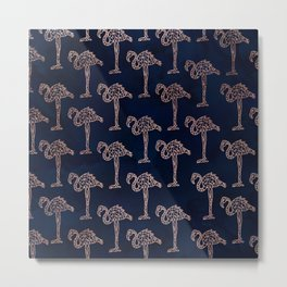 Tropical rose gold geometric flamingo pattern on navy blue watercolor Metal Print