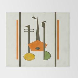 Mid-Century Modern Art Musical Strings Throw Blanket