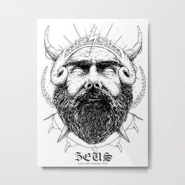 Zeus - Ink Portrait Metal Print