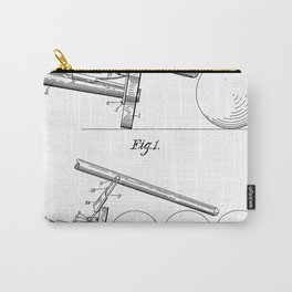 Pool Bridge Patent - Pool Art - Black And White Carry-All Pouch