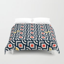 Round Pegs Square Pegs Navy Blue Duvet Cover